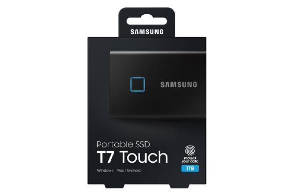 Samsung T7 Touch Portable SSD 1TB,USB3.2, Type-C, R/W(Max) 1,050MB/s, Aluminium Case, Fingerprint Password Security, Black, 3 Years Warranty 1