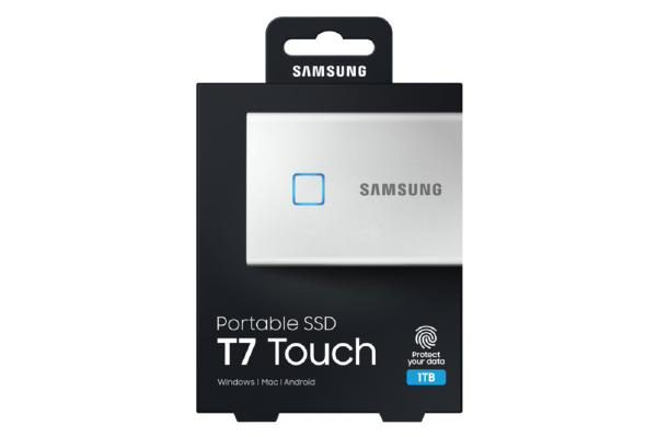 Samsung T7 Touch Portable SSD 1TB,USB3.2, Type-C, R/W(Max) 1,050MB/s, Aluminium Case, Fingerprint Password Security, Silver, 3 Years Warranty 1