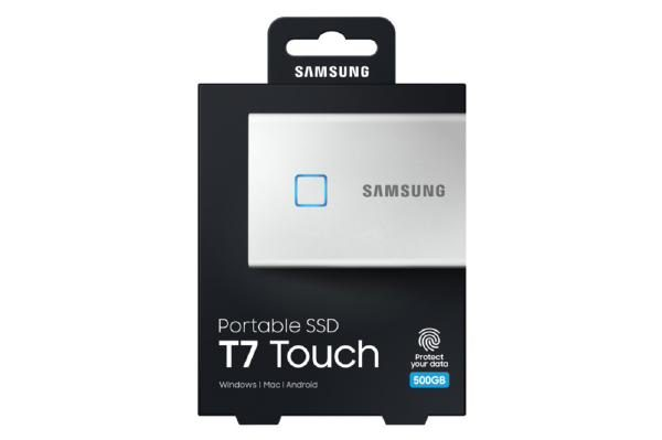 Samsung T7 Touch Portable SSD 500GB,USB3.2, Type-C, R/W(Max) 1,050MB/s, Aluminium Case, Fingerprint Password Security, Silver, 3 Years Warranty 1