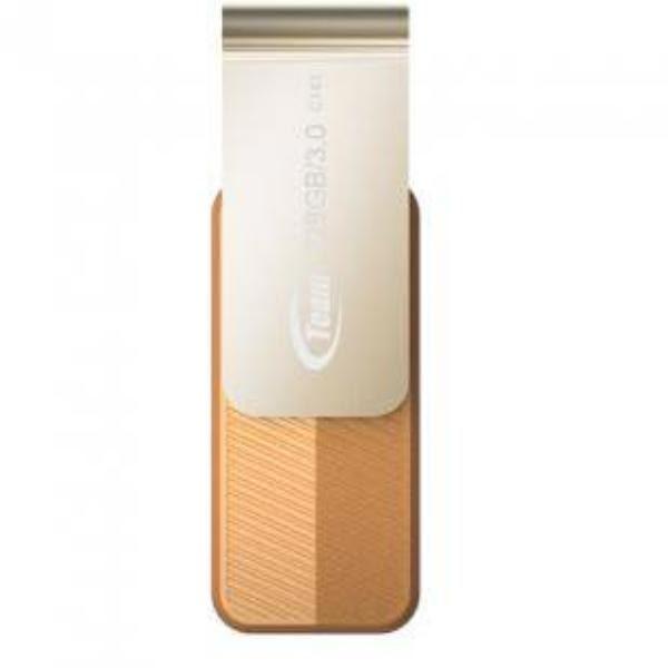 Team Group USB Drive 128GB, C143, USB3.0, Brown & Silver, Rotating, Capless, READ 25MB/s, 15g, Lifetime Warranty 1
