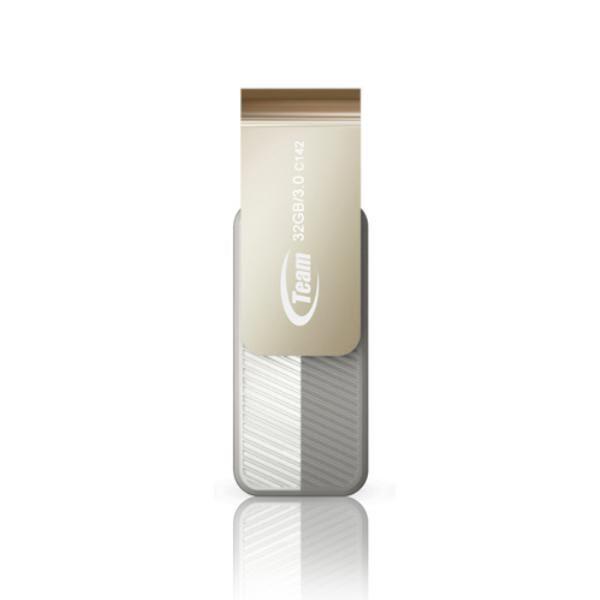 Team Group USB Drive 32GB, C143, USB3.0, White & Silver, Rotating, Capless, READ 25MB/s Read, 15g, Lifetime Warranty 1