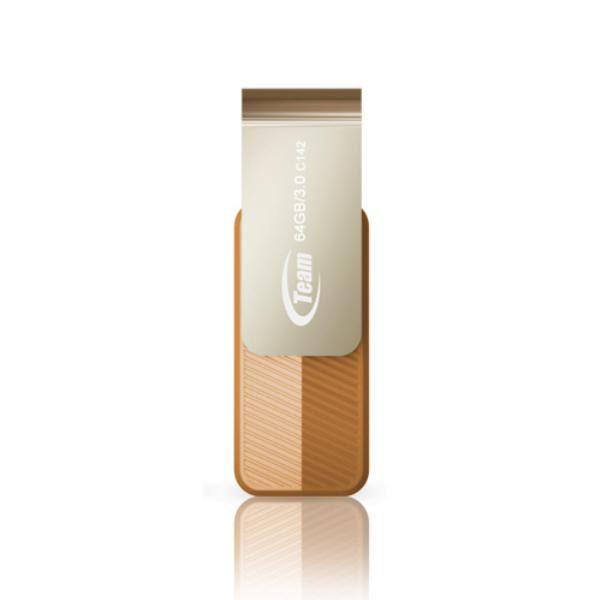 Team Group USB Drive 64GB, C143, USB3.0, Brown & Silver, Rotating, Capless, READ 25MB/s, 15g, Lifetime Warranty 1