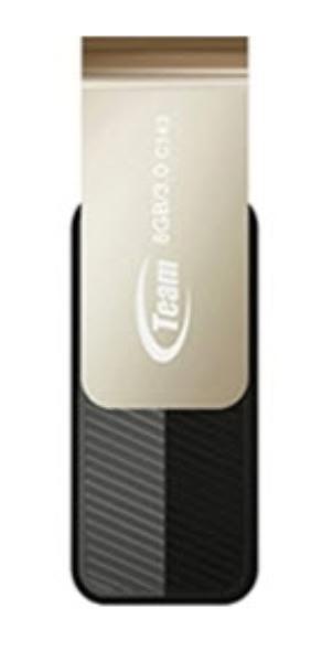 Team Group USB Drive 8GB, C143, USB3.0, Black, Rotating, Capless, READ 25MB/s, 15g, Lifetime Warranty 1