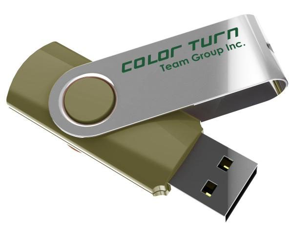 Team Group USB Drive 16GB, Colour Turn, USB2.0, Green & Silver, Rotating, Capless, 15MB/s Read*, 11g, Lifetime Warranty 1