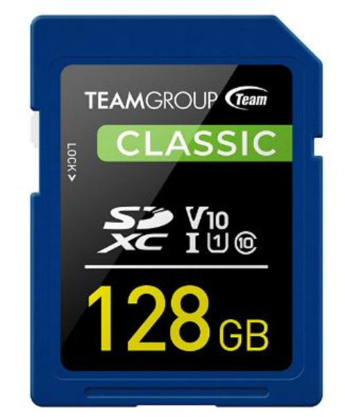 Team Classic SD Memory Card - 128 GB  UHS (Ultra) Speed Class 1(U1). Supports Video Speed Class 10(V10). 1