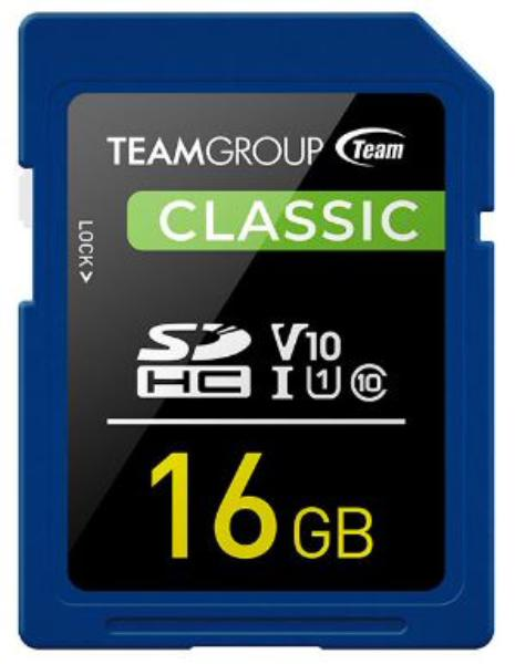 Team Classic SD Memory Card -16 GB  UHS (Ultra) Speed Class 1(U1). Supports Video Speed Class 10(V10). 1