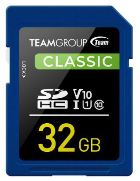 Team Classic SD Memory Card -32 GB - UHS (Ultra) Speed Class 1(U1). Supports Video Speed Class 10(V10). 1