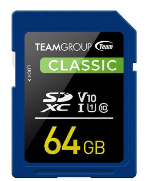 Team Classic SD Memory Card -64 GB.  UHS (Ultra) Speed Class 1(U1). Supports Video Speed Class 10(V10). 1