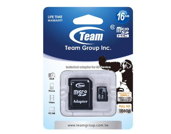 Team Group Memory Card microSDHC 16GB, Class 10, 14MB/s Write*, with SD Adapter, Lifetime Warranty 1