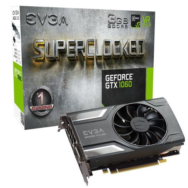 EVGA GeForce GTX1060 SC Gaming Graphics Card, 3GB GDDR5, PCIE, Full Height, ACX 2.0 (Single Fan), DVI-D, DP x3, HDMI, Max 4 Outputs 1