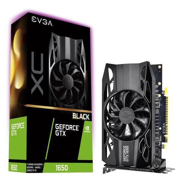 EVGA Geforce GTX1650 Black XC Gaming Graphics Card, 4GB GDDR5, PCIE, Full Height, Single Fan, DP x 2, HDMI, Max 3 Outputs 1