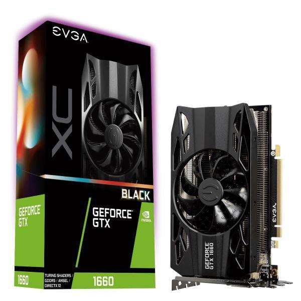 EVGA Geforce GTX1660 Black XC Gaming Graphics Card, 6GB GDDR5, PCIE, Full Height, HDB Fan, DP, HDMI, DVI-D, Max 3 Outputs 1