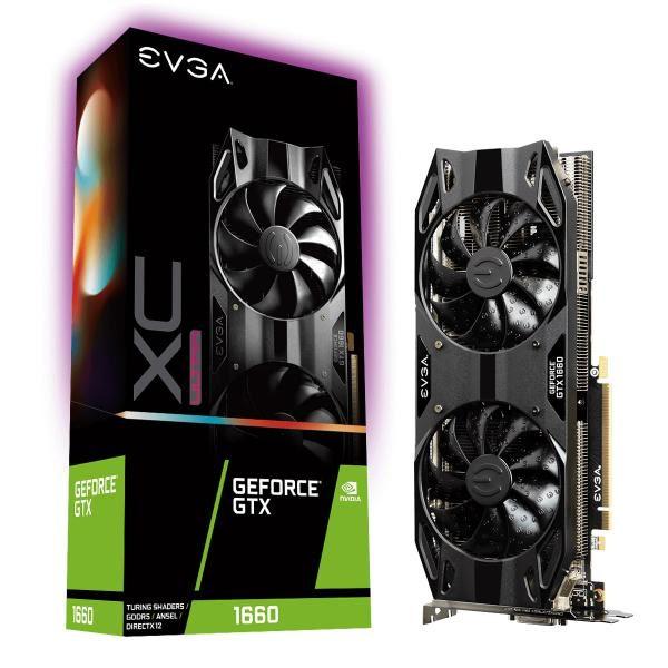 EVGA Geforce GTX1660 XC Ultra Gaming Graphics Card, 6GB GDDR5, PCIE, Full Height, HDB Fan, DP, HDMI, DVI-D, Max 3 Outputs 1