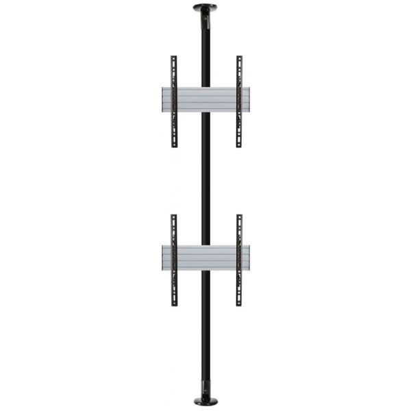 Atdec 1x2 floor-to-ceiling mount. Max load per display: 70kg Universal VESA 1