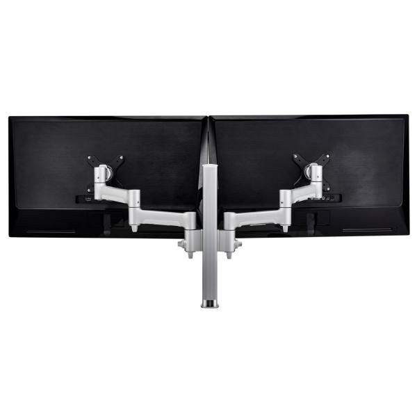 Atdec AWM Dual monitor arm solution - 460mm articulating arms - 400mm post - Grommet clamp - silver 1
