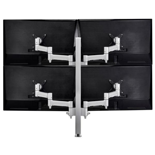 Atdec AWM Quad monitor arm solution - 460mm articulating arms - 750mm post - heavy duty clamp - silver 1
