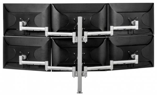 Atdec Six Monitor Arm 750mm Post Desk Mount. Max load: 0-9kg per arm (12kg middle arm) - Silver 1