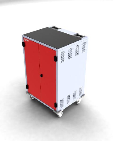Gilkon LCMT-30 - 30 Bay PC Vault Trolley w/ Eco System - Red Doors 1
