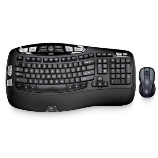 Logitech Wireless Keyboard & Mouse Combo, MK550 Wave, Black, USB Receiver (Powered by 4xAA, included) 1