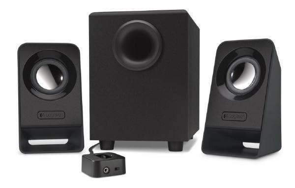 Logitech Speaker System 2.1, Z213, Black, Headphone Jack, Bass Adjust, 7W RMS, 3.5mm Input 1