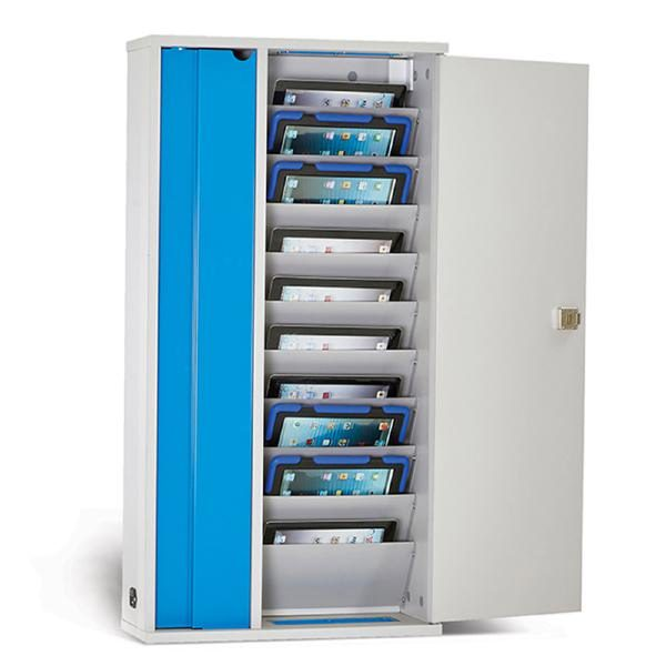 """LapCabby Lyte 10 Wall for Tablets   10-Device Wall Mounted AC Charging Cabinet for Tablets up to 11.8"""" - Vertical 1"""