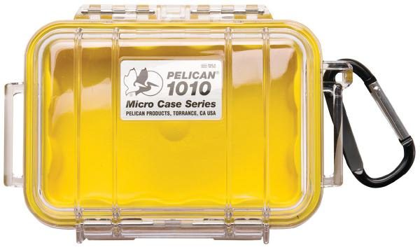 Pelican 1010 Micro Case - Clear with Yellow 1