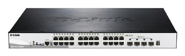 D-LINK 28-Port Gigabit SmartPro Stackable 370W PoE Switch with 24 RJ45 and 4 SFP+ 10G Ports 1