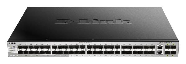 D-Link 54 port Stackable Gigabit Switch with 48 SFP ports and 4 10 Gigabit SFP+ ports and 2 10GBASE-T ports. 1