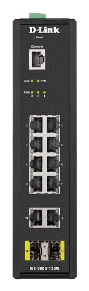 D-LINK 12-Port Gigabit Industrial Smart Managed Switch with 10 1000BASE-T ports and 2 SFP ports 1