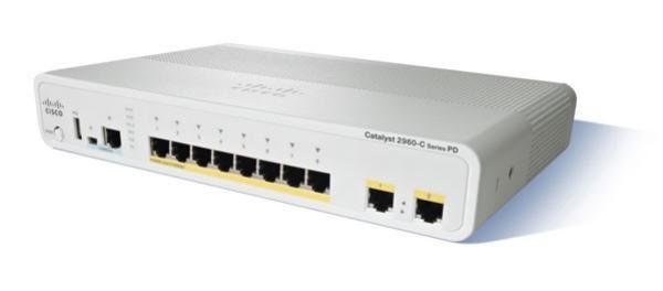 Cisco WS-C2960C-8PC-L Catalyst 2960C 8 Port 10/100 PoE Switch, 2x Dual Uplink, Lan Base 1