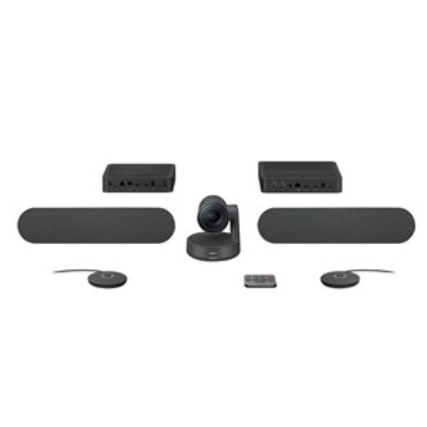 Logitech Rally Plus HD Conference System Kit, Camera (1), Hub (2), Speaker (2), Mic Pod (2) 2YR 1