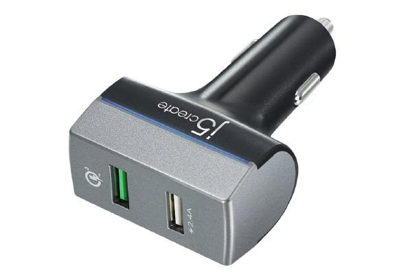 J5create JUPV20 2-PORT USB CAR CHARGER with Qualcomm Quick Charge 3.0 (1-port Quick Charge 3.0 (max 18w) 1-port USB fast charging (max 2.4A)) 1