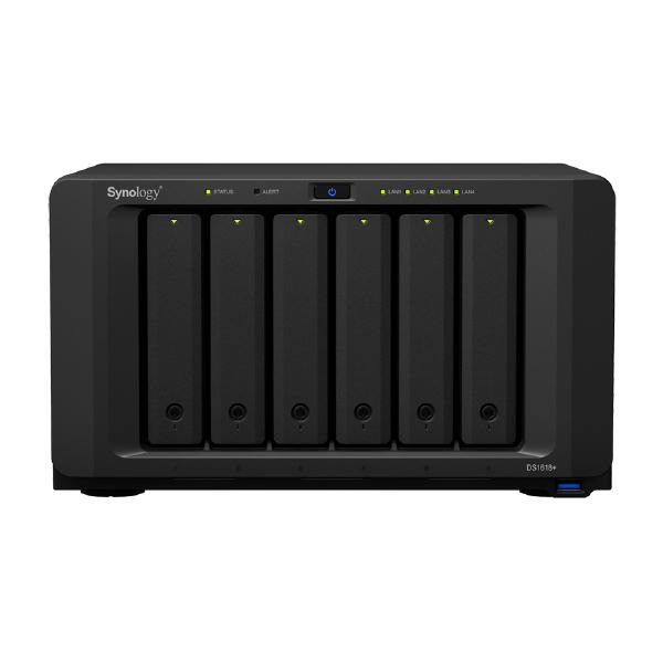 "Synology DiskStation DS1618+ 6-Bay 3.5"" Diskless 4xGbE NAS (Tower) (SMB), Intel Atom Quad Core 2.1GHz,4GB RAM,3xUSB3,2x eSATA, Scalable.3 year Wty 1"