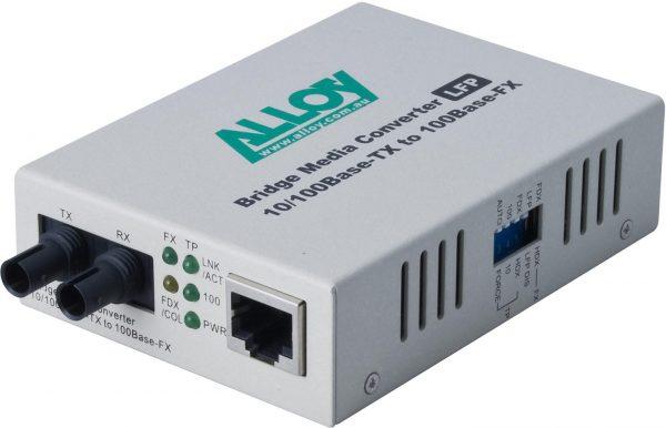 Alloy, 100Mbps Standalone/Rackmount Media Converter 100Base-TX (RJ-45) to 100Base-FX (ST), 2Km 1