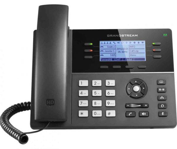 Grandstream, HD PoE IP Phone 200x80 LCD, 6 lines, Dual 10/100Mbps Ports, 4 program keys, 8 BLF, EHS, WiFi 1