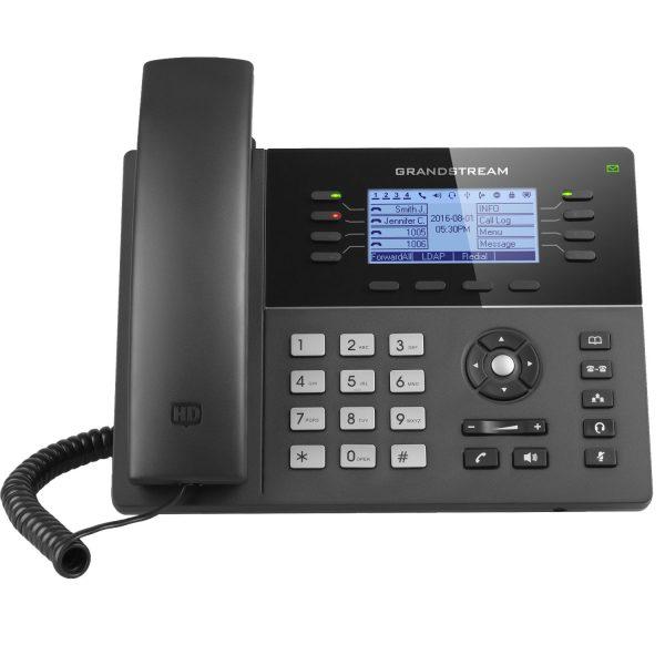 Grandstream, HD PoE IP Phone 200x80 LCD, 8 lines, Dual Gigabit Ports, 4 program keys, 32 BLF, EHS 3