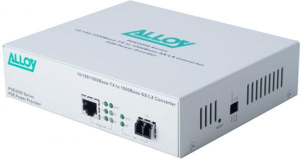 Alloy, PoE PSE Gigabit Ethernet Media Converter 1000Base-T to 1000Base-LX (LC), LFP, 10Km 1