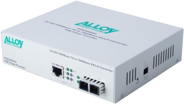 Alloy, PoE PSE Gigabit Ethernet Media Converter 1000Base-T to 1000Base-SX (SC), LFP, 550m 1