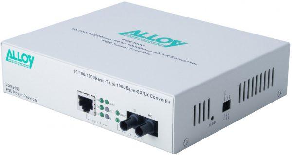 Alloy, PoE PSE Gigabit Ethernet Media Converter 1000Base-T to 1000Base-SX (ST), LFP, 550m 1