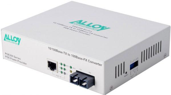 Alloy, PoE PSE Fast Ethernet Media Converter 100Base-TX to 100Base-FX (SC), LFP, 2Km 1