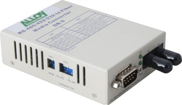 Alloy, Serial to Fibre Standalone/Rack Converter RS-232/422/485 DB-9 to Multimode ST, 2Km 1
